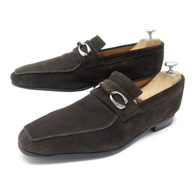 CHAUSSURES CORTHAY CANNES 9 43 MOCASSINS VEAU VELOURS MARRON SUEDE LOAFERS 650€