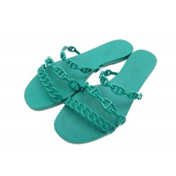 SANDALES HERMES CHAINE ANCRE VERT