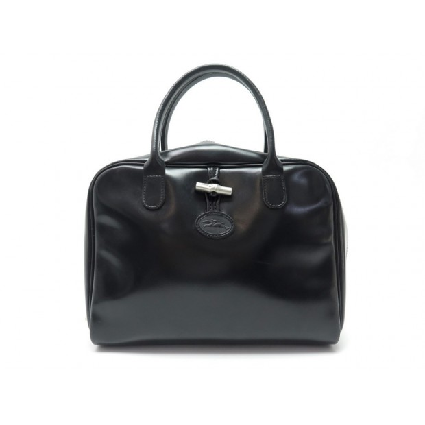 SAC A MAIN LONGCHAMP ROSEAU EN CUIR NOIR BLACK LEATHER HANDBAG 850€