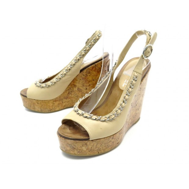 CHAUSSURES CHANEL 36 SANDALES A TALONS COMPENSES CUIR BEIGE CHAINE ARGENTE 970€