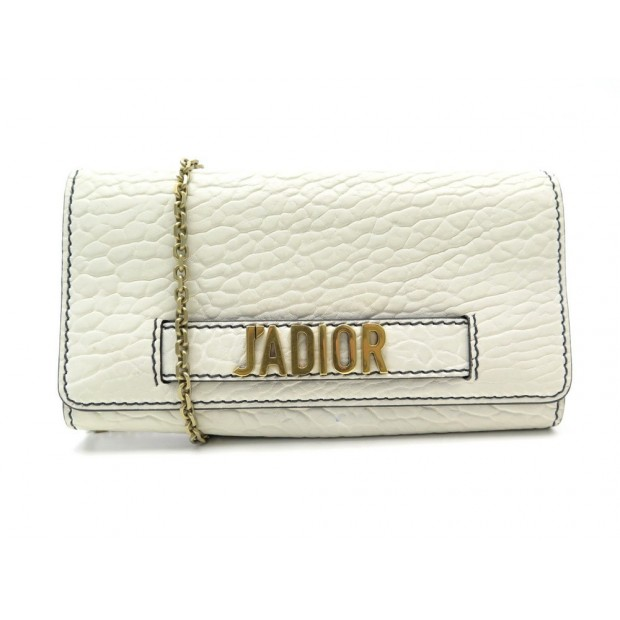 SAC A MAIN CHRISTIAN DIOR J'ADIOR WALLET ON CHAIN EN CUIR GRAINE BLANC WOC 1320€