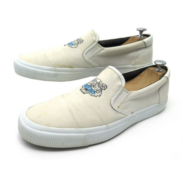 CHAUSSURES KENZO SLIP ON TIGER 44 BASKETS TOILE BLANC WHITE CANVAS SNEAKERS 130€