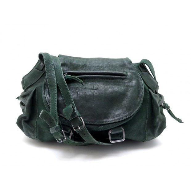 SAC A MAIN JEROME DREYFUSS TWEE BANDOULIERE EN CUIR VERT LEATHER HANDBAG 650€