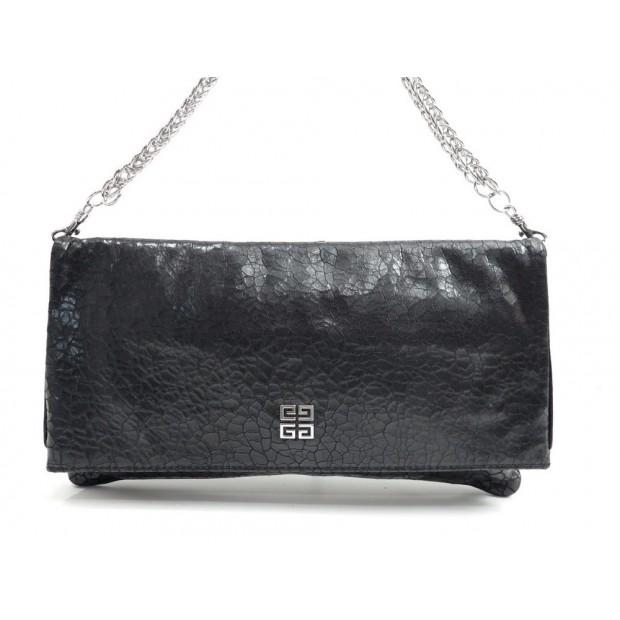 SAC A MAIN GIVENCHY POCHETTE EPAULE 31 CM CUIR CRAQUELE NOIR HAND BAG PURSE 600€