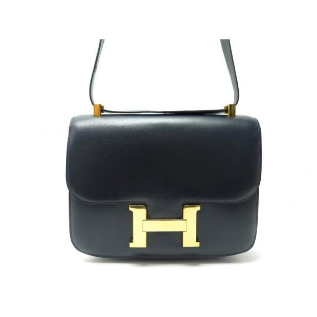 VINTAGE SAC A MAIN HERMES CONSTANCE 23 PM EN CUIR BOX BLEU MARINE HAND BAG 6850€