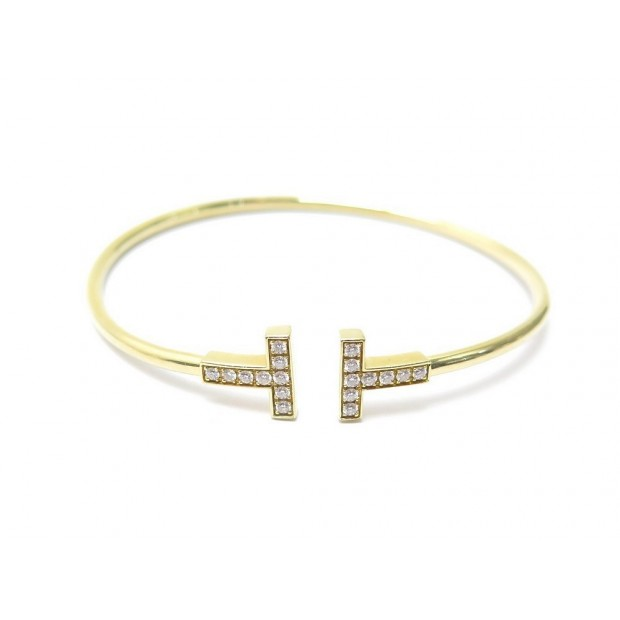 BRACELET TIFFANY & CO WIRE T 16 CM EN OR JAUNE 18K & DIAMANTS GOLD JEWEL 4000€