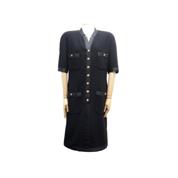 NEUF ROBE CHANEL BOUTONS CAMELIA TAILLE 40 M EN LAINE NOIR NEW WOOL DRESS 3500€