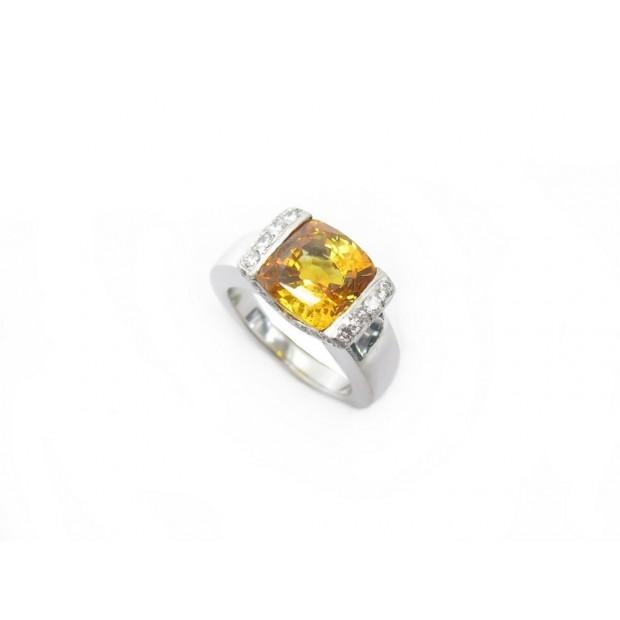 BAGUE T 51 OR BLANC 18K SAPHIR 5CT & 24 DIAMANTS 0.48CT SAPPHIRE DIAMONDS RING