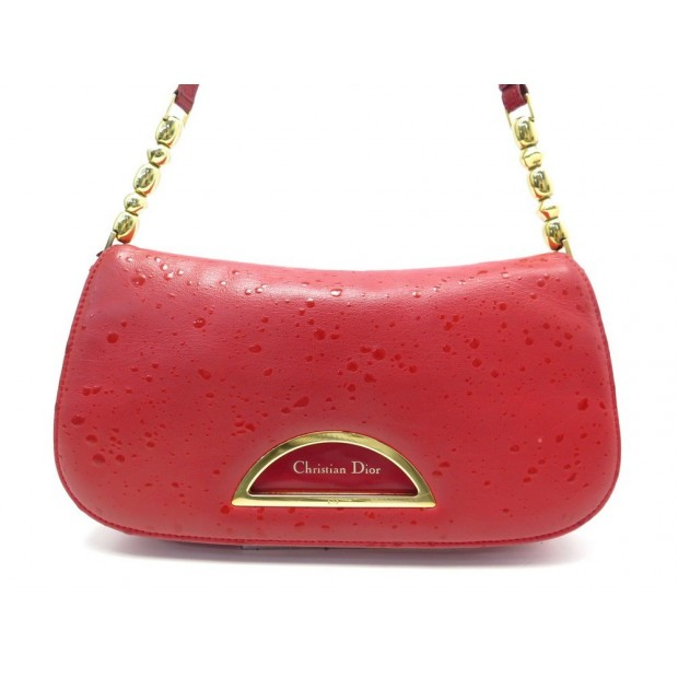 SAC A MAIN CHRISTIAN DIOR MALICE BAGUETTE EN CUIR ROUGE LEATHER HAND BAG 1350€