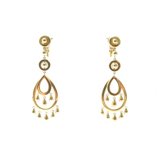 BOUCLES D'OREILLES BOUCHERON CINNA EN OR JAUNE 18CT 21.1GR GOLD EARRINGS 7050€