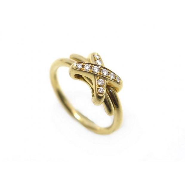 BAGUE CHAUMET JEUX DE LIENS T52 EN OR JAUNE ET 10 DIAMANTS VVS GOLD RING 2620€