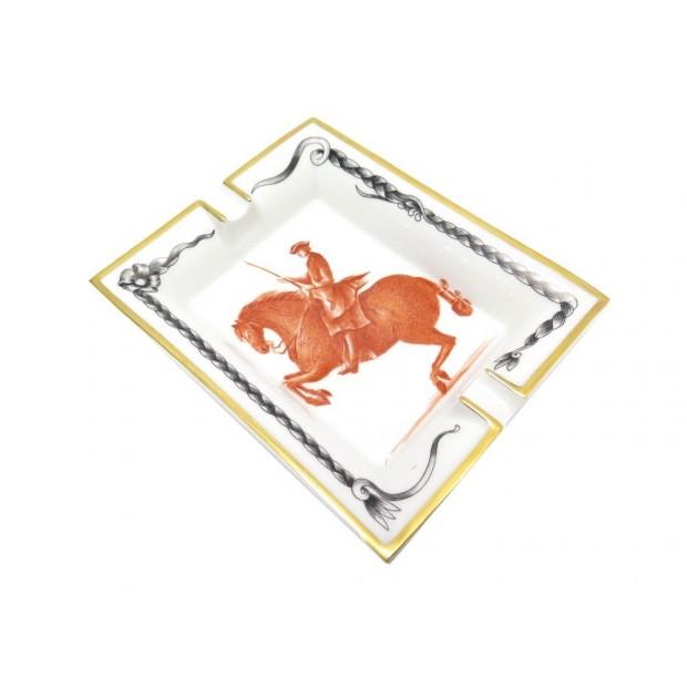 CENDRIER HERMES VIDE POCHE CHEVAL NOIR CABRE EN PORCELAINE BLANC ASHTRAY 475€