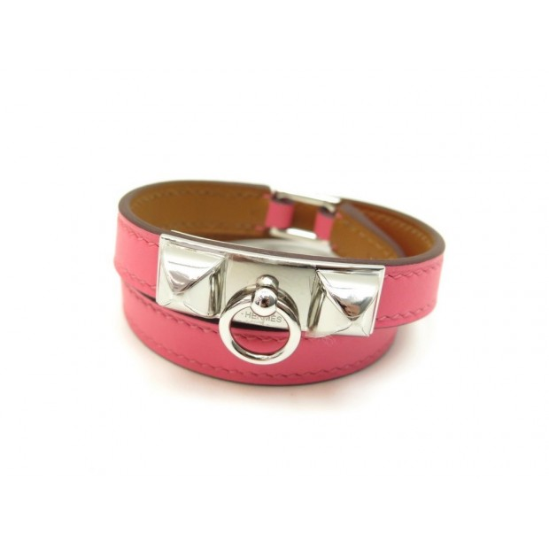 NEUF BRACELET HERMES RIVALE DOUBLE TOUR 17 CM EN CUIR ROSE LEATHER JEWEL 480€