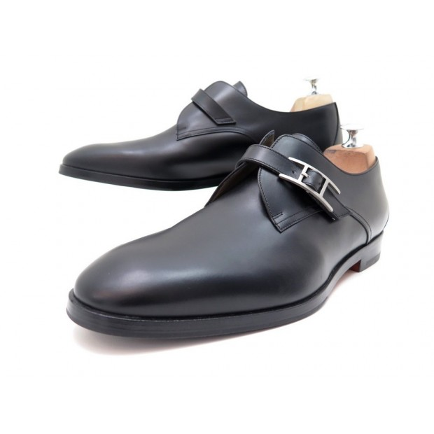 NEUF CHAUSSURES HERMES DERBY A BOUCLE H NORRIS 42 CUIR NOIR + BOITE SHOES 790€