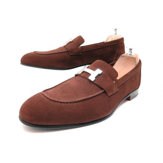 NEUF CHAUSSURES HERMES MOCASSINS PARIS 43 BOUCLE H PALLADIE BOITE LOAFERS 840€