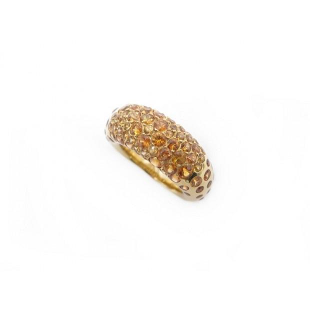 BAGUE CHAUMET CAVIAR T51 OR JAUNE 18K & SAPHIRS ORANGE GOLD SAPPHIRE RING 12250€