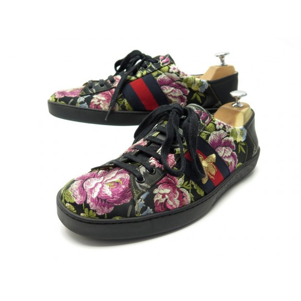 CHAUSSURES GUCCI BASKETS ACE BRODERIES FLEURS 9 IT 44 FR SNEAKERS SHOES 630€