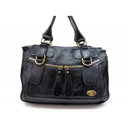 SAC A MAIN CHLOE BAY CABAS TOTE 40 CM CUIR NOIR BLACK LEATHER HAND BAG 1594€