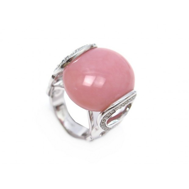 NEUF BAGUE VICTORIA CASAL PAOLA T52 OR BLANC DIAMANTS ET OPALE ROSE + ECRIN RING