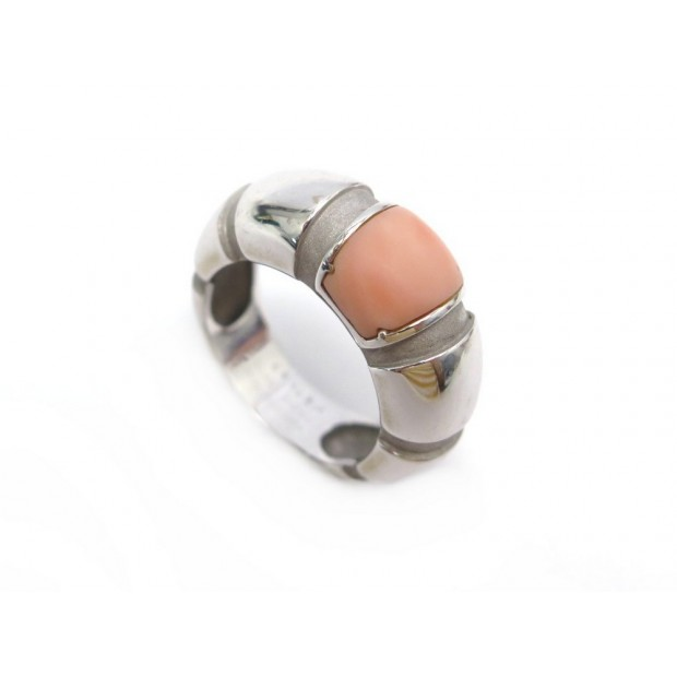 BAGUE MAUBOUSSIN NADJA T51 JONC EN OR BLANC 18K 10.4GR PIERRE ROSE GOLD RING