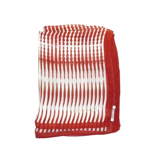 NEUF FOULARD BALMAIN ETOLE EN SOIE ROUGE ET BLANC NEW RED AND WHITE SILK SCARF
