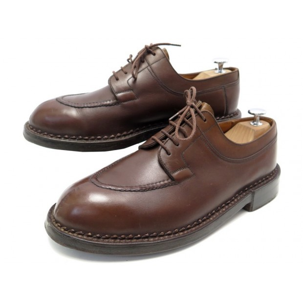 CHAUSSURES JM WESTON LE CHASSE 677 7.5E 41.5 DERBY CUIR MARRON BROWN SHOES 1990€