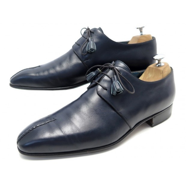 CHAUSSURES AUBERCY 3 OEILLETS 9.5 43.5 DERBY CUIR BLEU BLUE LEATHER SHOES 795€