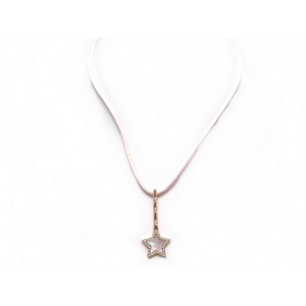 COLLIER VICTORIA CASAL PENDENTIF ETOILE 54 CM EN OR ROSE ET DIAMANTS NECKLACE