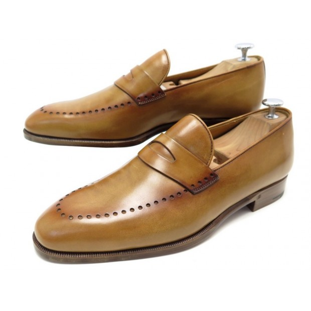 NEUF CHAUSSURES BERLUTI 7.5 41.5 MOCASSINS EN CUIR MARRON LEATHER LOAFERS 1650€
