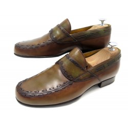 CHAUSSURES BERLUTI SCRITTO 7.5 41.5 MOCASSINS CUIR MARRON LEATHER LOAFERS 1650€