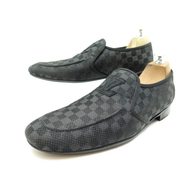 NEUF CHAUSSURES LOUIS VUITTON MOCASSINS 8 42 EN TOILE DAMIER LOAFERS SHOES 550€