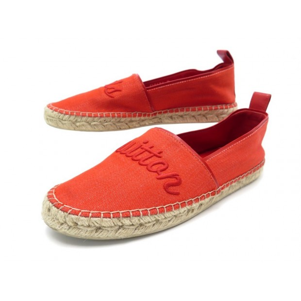 CHAUSSURES LOUIS VUITTON ESPADRILLES WATERFALL 37 TOILE ROUGE SANDAL SHOES 480€