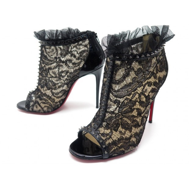 CHAUSSURES CHRISTIAN LOUBOUTIN PIGALLA SPIKE 37 BOTTINES A TALONS DENTELLE 1050€
