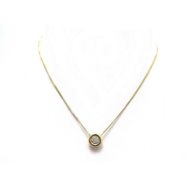 COLLIER PENDENTIF 40.5 CM OR JAUNE ET DIAMANTS YELLOW GOLD AND DIAMONDS NECKLACE