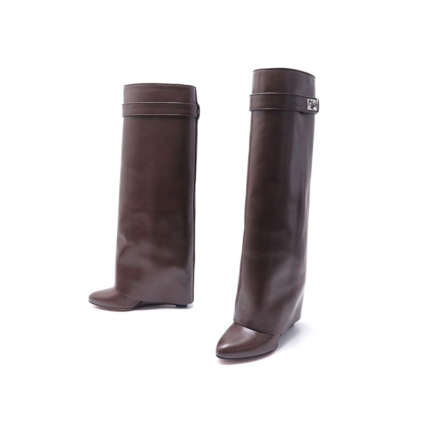 CHAUSSURES GIVENCHY BOTTES COMPENSES SHARK LOCK 38 EN CUIR MARRON BOOTS 1595€