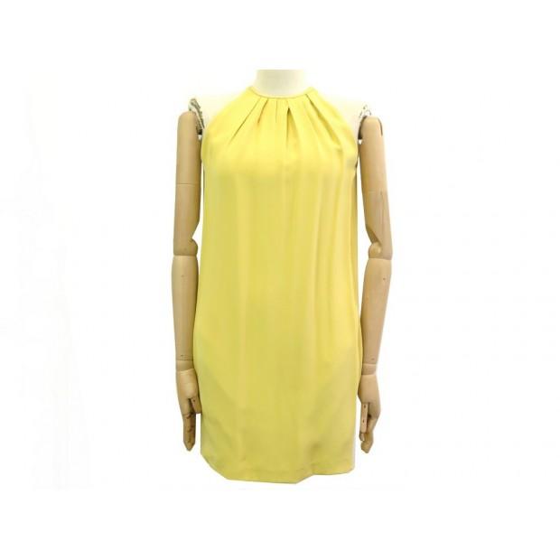 NEUF ROBE CELINE SANS MANCHE TAILLE 34 S SOIE JAUNE NEW YELLOW SILK DRESS 1900€