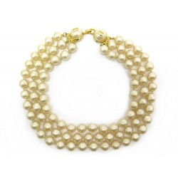 NEUF VINTAGE COLLIER CHANEL 3 RANGS 42 CM PERLES DE VERRE PEARLS NECKLACE 1590€