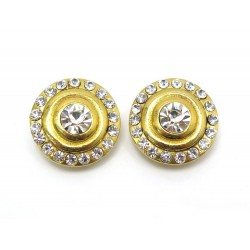 NEUF VINTAGE BOUCLES D OREILLES CHANEL EN METAL DORE ET STRASS NEW EARRINGS 590€
