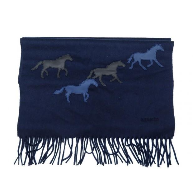NEUF ECHARPE HERMES CHEVAUX SAUVAGES WILD HORSES EN CACHEMIRE & CUIR SCARF 840€