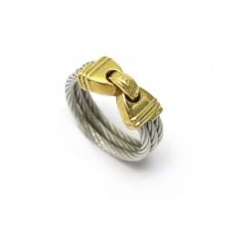 BAGUE FRED FORCE 10 TAILLE 50 EN OR JAUNE 18K CABLE EN ACIER GOLD & STEEL RING