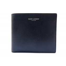 NEUF PORTEFEUILLE SAINT LAURENT 316129 EAST WEST EN CUIR GRAINE BLEU WALLET 445€