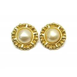 NEUF VINTAGE BOUCLES D'OREILLES CHANEL 1970 EN METAL DORE PERLES EARRINGS 590€