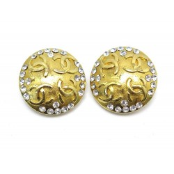 NEUF VINTAGE BOUCLES D'OREILLES CHANEL 1984 LOGO CC & STRASS DORE EARRINGS 590€