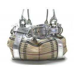 SAC A MAIN BURBERRY BEATON LARGE EN CUIR ARGENT & TARTAN CHECK SLICED BAG 1715€