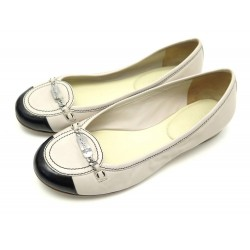 CHAUSSURES CHANEL G27754 38 BALLERINES CUIR BEIGE LEATHER FLAT SHOES 560€