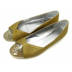 CHAUSSURES CHANEL LOGO CC STRASS G28417 38 BALLERINES CUIR DORE FLAT SHOES 570€