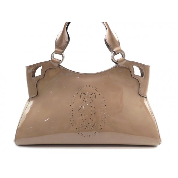 SAC A MAIN CARTIER MARCELLO 37 CM CABAS EN CUIR VERNI BEIGE HAND BAG PURSE 1575€