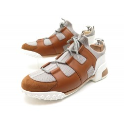NEUF CHAUSSURES HERMES BASKETS VOLTIGE 44 TOILE ET CUIR + BOITE SNEAKERS 1250€