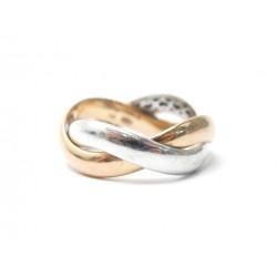 BAGUE POIRAY TRESSE MM TAILLE 55 EN OR BLANC & ROSE + ECRIN GOLD RING 1450€