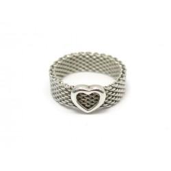 BAGUE TIFFANY & CO SOMERSET HEART T63 MAILLE ET COEUR EN ARGENT MASSIF RING 305€